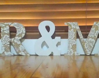 Mr and Mr Wooden Lace Letters