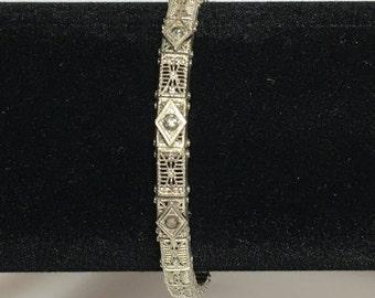 Vintage Signed JHP Art Deco Rhinestone Filigree Bracelet