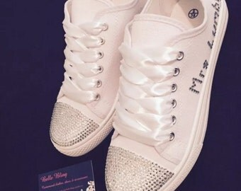 Wedding bridal customised trainers, pumps, shoes, crystals, bling, personalised