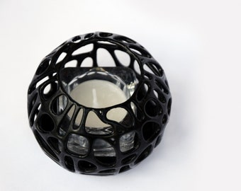 3D Printed Modern Voronoi Glass Tealight Holder With Candle