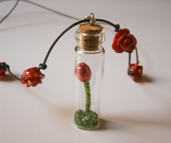 Beauty and the Beast inspired Beaded Rose in Corked Bottle on Leather Cord