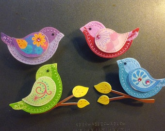 4 Beautiful Felt Bird Magnets