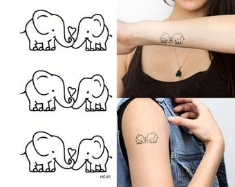 Elephants temporary tattoo