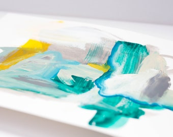 SALE** Abstract Drawing on Paper with Turquoise and Yellow