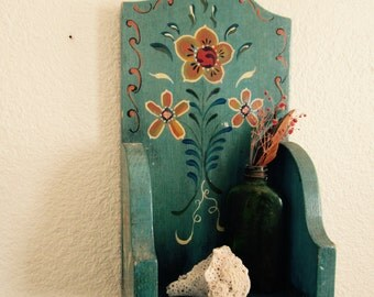 1979 Hand Painted Wooden Wall Shelf