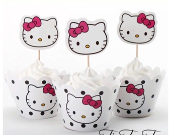 12/set Hello Kitty Cupcake Toppers + Wrappers. Girls Party Supplies