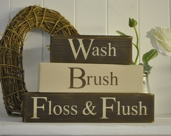 Wash Brush Floss & Flush Bathroom Blocks