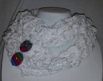 White cowl with purple buttons