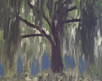 Original Abstract Painting Willow Tree