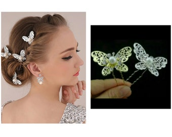 2 Pcs Silver Bridal Hairpins Gold Bridal Hair pins Gold Hair accessories Wedding Hair pins Gold Butterfly Hairpins Gold Butterfly Hair pins