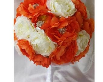 Orange Brooch Bouquet Orange Bridesmaids Bouquet Orange Wedding Bouquet Orange Silk Rose Bouquet  Orange Bouquet Orange Rose Bouquet