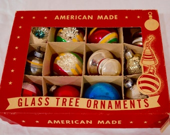 Vintage 1950s Colored Glass Christmas Ornaments American Made