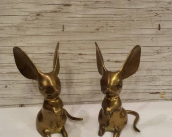 Vintage Pair of Solid Brass Mice by the Leonard Silver Mfg. Co.