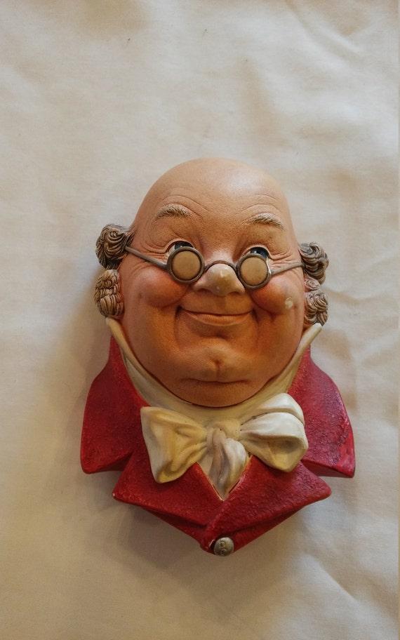 "Vintage 1964 Bosson's Collectible Chalkware Figurine Head ""MR. PICKWICK"""