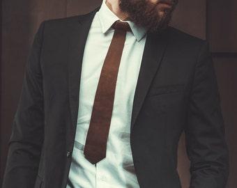 Mens Leather Necktie Personalized Groomsmen Necktie Men Neck Tie Leather Accessories Handmade Gift for Him Mens Gift Wedding Tie Brown/Black