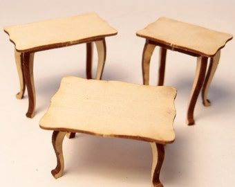 1:24 scale miniature dollhouse furniture kit occasional tables set of 3