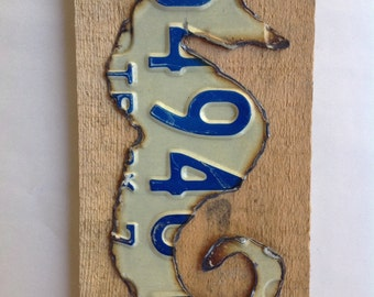 Seahorse made from an old license plate