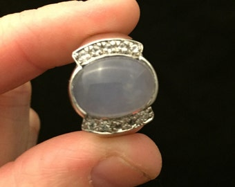 Sterling silver ring with purple jade.