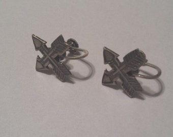 Vintage Sterling Silver .925 Arrow Screw Back Earrings