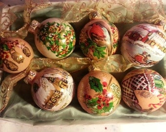 Set of 6 unique Christmas ornaments - hand painted