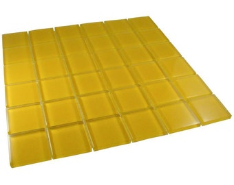 2 inch Yellow Glass mosaic tiles