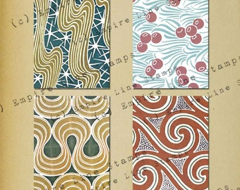French Art Nouveau Pattern Backgrounds for ATC Downloadable Printable Scrapbook Paper Crafts