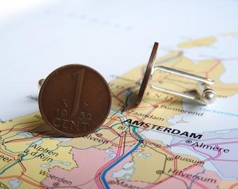 Netherlands Dutch cent coin cuff links in birth year 1970 - 1971 - 1972 - 1973 - 1974 - 1975 - 1976 - 1977 - 1978 - 1979 - 1980