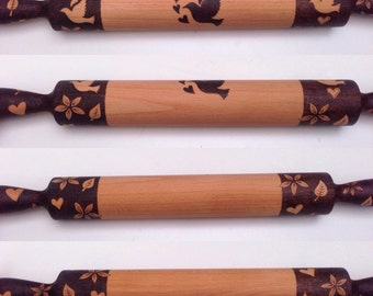Large personalized wooden rolling pin, pyrography dove rolling pin, wood burned decorative and functional rolling pin,  custom baking gift