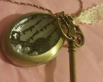 Key & Locket Pendant Necklace