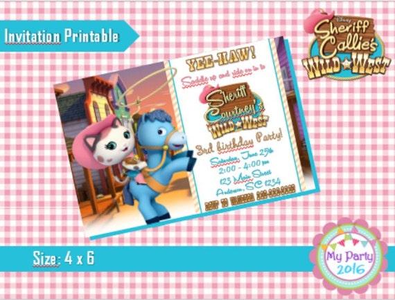 Sheriff Callie Birthday Party Invitation - Printable