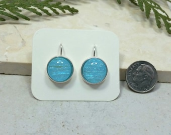 Fused Glass Dangle Earrings, Turquoise Glass with Dichroic Accents 16157