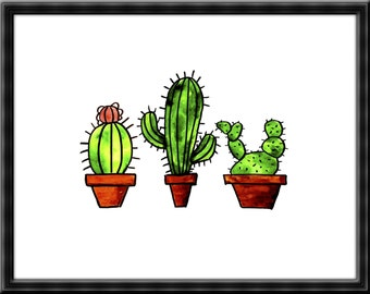 Three Handsome Cacti Print