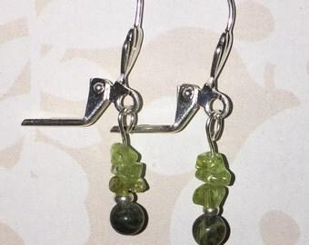 Green dangling earrings peridot