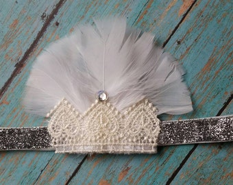 Feathers Sparkles & Lace 1930s Flapper Headband - Great Gatsby Costume Accessory