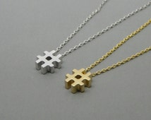 Hashtag necklace, Tiny necklace, # necklace, Symbol necklace, Hashtag charm, Christmas gift