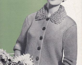 Ladies Jacket in Chunky with Loopy Collar - Vintage Knitting Pattern - Bestway 3895