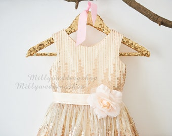 Rose Champagne Sequin Flower Girl Dress Junior Bridesmaid Wedding Party Dress M0027