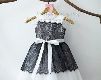 Ivory Satin Black Lace Flower Girl Dress Junior Bridesmaid Wedding Party Dress