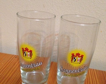 Set of two vintage german Sonnenbrau brewery beer glasses