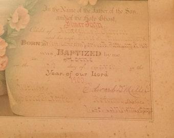Antique framed Certificate of Baptism from 1900
