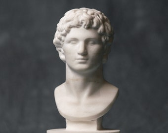 MARBLE bust of Alexander the great statue carved Greek marble figurine