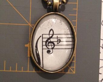 Music Note Pendant Handmade, Oval Pendant, Handmade Jewelry, Necklaces, Handmade Oval Pendant,