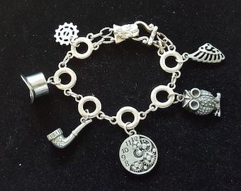 Silver Steampunk Charm Bracelet
