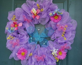 spring Deco Mesh Wreath **FREE SHIPPING!!!!**