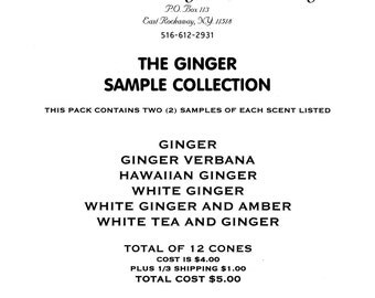 Incense Ginger incense cones-6 different Ginger scents-2 cones of each
