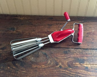 Vintage Maid of Honor Hand Mixer, Beaters, Red Plastic Kitchen Decor