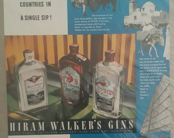 1937 Hiram Walker's Gins - 5 Countries in a Single Sip! Original Print Ad