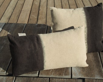 """Cushion linen natural """"Tie & Dye Olive Green"""", """"Little Miss Moses"""" Collection, 100% handmade"""
