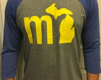 mi Michigan Wolverines Inspired Baseball T