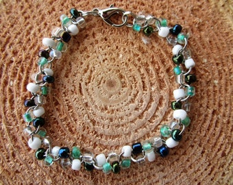 Country Beaded Bracelet with Sea Foam Green and White beads